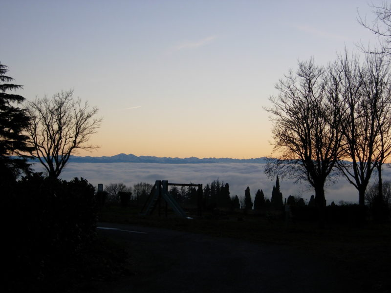 A sea of clouds over the Pyrenees and the plain of Lauraguais