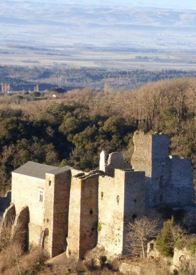 The Cathar castle of Saissac on the black mountain in the Aude near Carcassonne