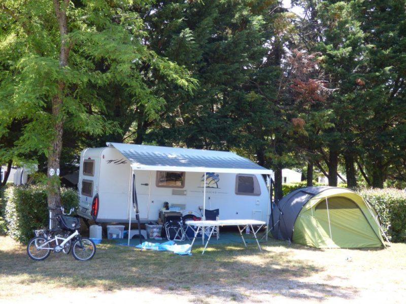 A camper on its pitch near Montolieu